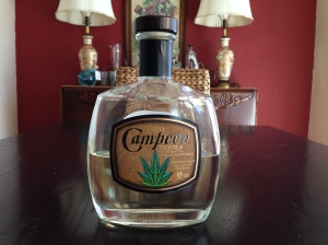 Campeon Añejo Tequila.  No, that's not a marijuana leaf on the bottle.