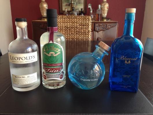 Leopold's Gin, Cutler's Gin, Ocean Vodka, Bluecoat Gin